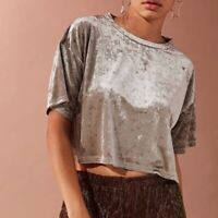 Urban Outfitters Women's Crushed Velvet Crop Top Gray Silver Boxy Sz S