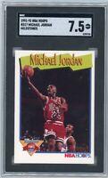 1991 Michael Jordan SGC 7.5 NBA Hoops #317 Milestones Graded Basketball Card