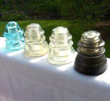 Lot of 4 Glass Insulators Hemingray 42 W Brookfield Aqua Blue Clear Made in USA