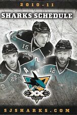 2010-11 NHL HOCKEY SCHEDULE - SAN JOSE SHARKS [THREE PLAYERS]