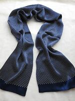 Elegant Men's Neckerchief 100% silk Double Layer White Dot long scarf Blue