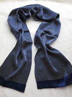 Elegant Men's Neckerchief 100% silk Double Layer long scarf White Dot Blue