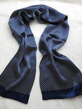 Men's 100% Silk Neckerchief Double Layer Long Scarf Blue With White Dot