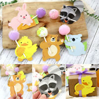 50Pcs/Lot Lips Cute Animals Lollipop Paper Decorative Card Candy Stick for Party