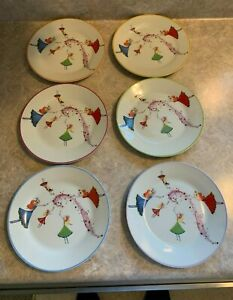 "Dessert Plates,6 porcelain with fairy pattern/ classic coffee & tea set 7.5"" dia"