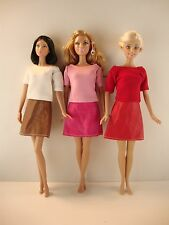 3 Dresses Short Sleeve Shirts & Leather-Like Skirts in White Red & Pink