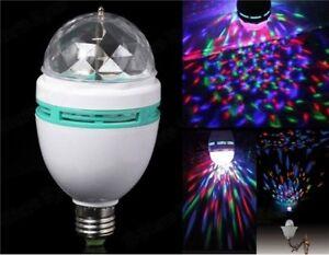 LAMPADA ROTANTE E27 RGB 3W FESTE DISCOTECA KARAOKE EFFETTI LUCE DJ MULTICOLORE