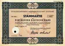 Schlossgartenbau AG 1951 Stuttgart Kaufhaus Hertie Ratgaus Belser Druck 1000 DM