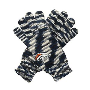 """TWO PAIRS of Denver Broncos """"Gloves Off' Space Dye Striped Logo Gloves, One Size"""