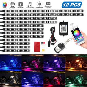 12x Universal Flexible LED Neon Light Strip Motorbike RGB Atmosphere Lamp Remote