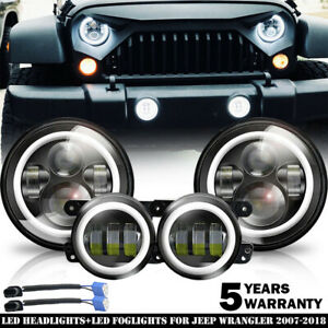 2007-17 For Jeep Wrangler JK Halo LED Headlights + Halo LED Fog Lights Combo Kit