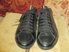 PRADA BLACK LEATHER FASHION SNEAKERS OXFORDS SIZE 40