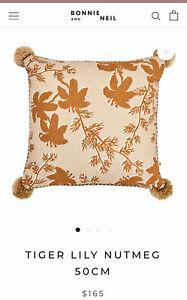 Bonnie and Neil Tigerlily Nutmeg 50cm cushion