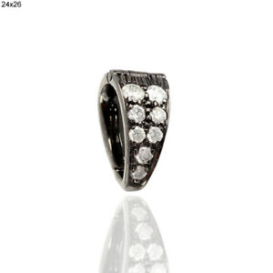 Handmade Oxidized 925 Sterling Silver Finding Pave Diamond Bail Pendant Jewelry