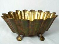 Vintage Heavy Brass Scalloped Edge Claw Foot Bowl Flower Pot Planter