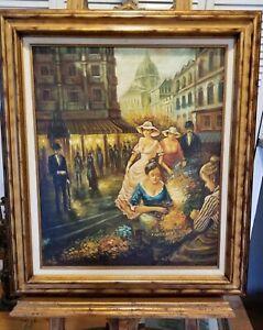 """Vintage Original Oil Painting Parisian Flower Market Scape Signed 31""""x 27"""""""