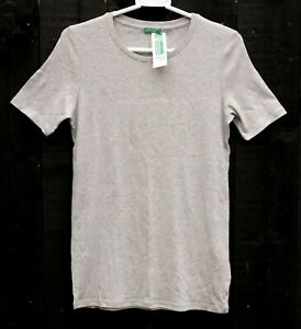 UNITED COLORS OF BENETTON Grey Marl Silver Logo Large Cotton Slim T Shirt (10)