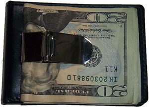 Money Clip. New Men/women's Leather money, 3 cards ID holder silver metal clip