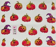 "Halloween Glitter Nail Art Sticker Gold/Black ""Pumpkin & Hats"" Water Decal 812"