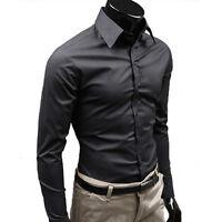 Men's Formal Business Slim Fit T Shirt Luxury Smart Long Sleeve Tops Button Down