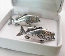 Largemouth Bass Fish Cufflinks in Fine English Pewter