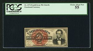 """1869-75 50 CENT FRACTIONAL CURRENCY FR1374 """"LINCOLN"""" PCGS """"CHOICE ABOUT NEW-55""""!"""