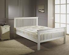 New White Finish Shaker 5ft King Size Wooden Bed Frame