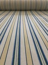 Blue, Yellow and Green Striped Fabric BY THE YARD