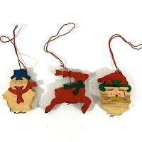 Dept 56 Holiday Wood 3-Piece Puzzle Christmas Ornament. Reindeer Snowman Santa