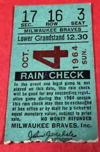 1964 Milwaukee Braves Ticket Warren Spahn Last Appearance as Brave/1 IP/2 K/Save