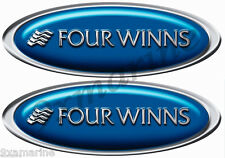 "Four Winns Boat Decal Set - Classic Blue Oval 10"" Long X 3.5"" Tall"