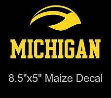 Large Michigan Wolverines Winged Helmet Maize Vinyl Decal/Sticker - 8.5 x 5 - UM