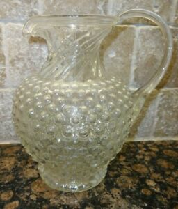 """Vintage Indiana Glass TIARA Clear Hobnail Footed 44 Oz Pitcher 8 5/8"""" Tall 1970s"""
