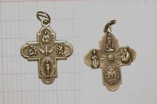 Pendentif - médaille religieuse -croix couleur bronze-   Objet Religieux.