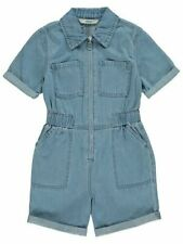 NEW Girls Blue Denim Summer Pocket Zipped Jumpsuit Shorts All In One Playsuit