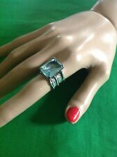 Retired Silpada Sterling Silver R1608 Emerald Cut Aqua Blue Glass Ring size 6.5