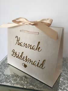 Personalised Bridesmaid Gift Bag Wedding Role Small Favour Ribbon Bags Box