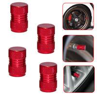4x Red Metal Tyre Valve Alloy Dust Caps Car Cover Motorbike Bike Van Parts Top