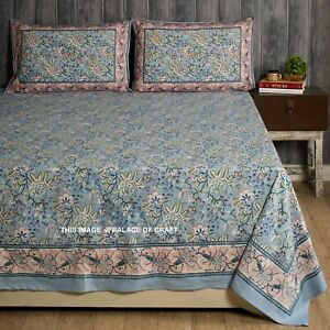 Indian Floral Printed Bed Sheet Bedspread Block Printed Bedding 2 PC Pillow Case