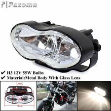 H3 Bulb Double Oval Twin Headlight Head Lamp For Harley Cafe Racer Bobber Custom
