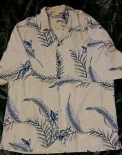 TOMMY BAHAMA SS SHIRT MENS SIZE LARGE BEIGE/GREEN 100% SILK