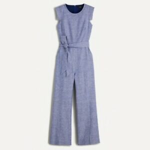 New J Crew Resume Jumpsuit Linen Blend Blue Petite 00P Womens AO689