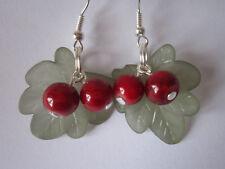 Drop / Dangle Autumn Earrings - Hawthorn Leaves & Berries - Silver Plated