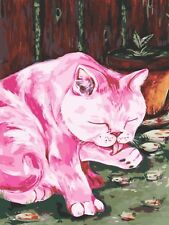 KITTY CAT IN PINK PAINTING PAINT BY NUMBERS CANVAS KIT 12 x 16 ins FRAMELESS New