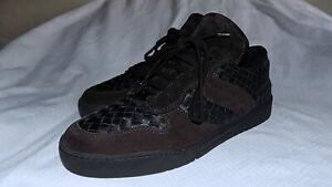 BOTTEGA VENETA Genuine Leather Sneakers-Black/Brown-Size 10M/43 Eur-Very Nice !!