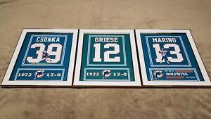 Miami Dolphins Dan Marino Bob Griese Larry Csonka Framed 8x10 Jersey Photo