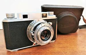 Konishiroku KONICA I rangefinder camera and case. Hexar f2.8/50mm lens.