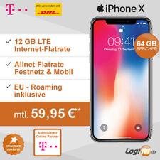 Apple iPhone X 64GB Handy mit Telekom Vertrag 12GB Allnet Flat inkl. 59,95€ mtl.