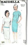 "Maudella Vintage Sewing Pattern 5361 Dress 1960s 34"" 36"" 40"" 10 12 16 Ladies"
