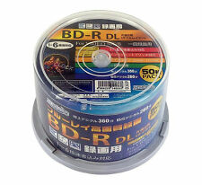 50 Hi-Disc Blu-ray BD-R DL 50GB 6x Speed White Inkjet Printable Bluray No Logo